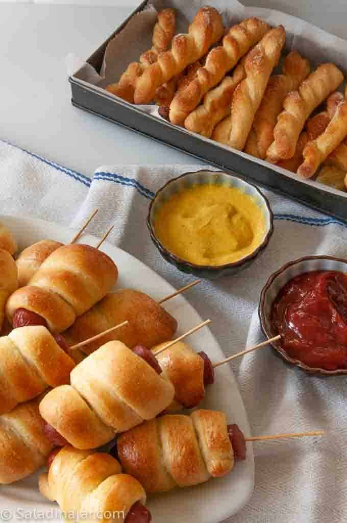 mini corndogs and cornbread twists made with yeast and a Jiffy mix