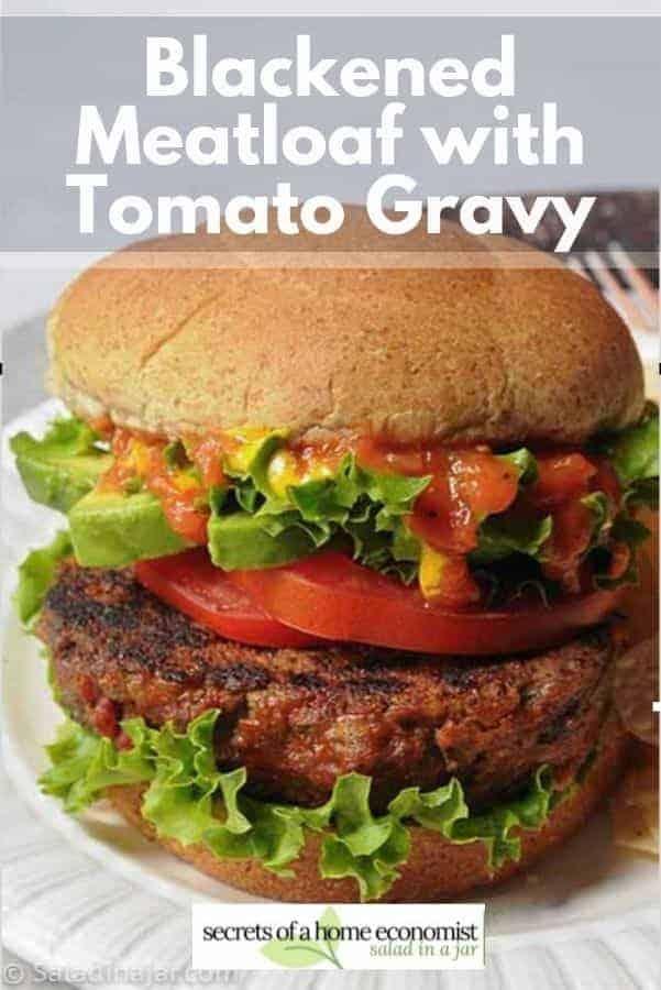 Pinterest image of blackened meatloaf burger