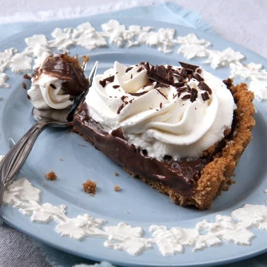 a slice of a chocolate cream tart