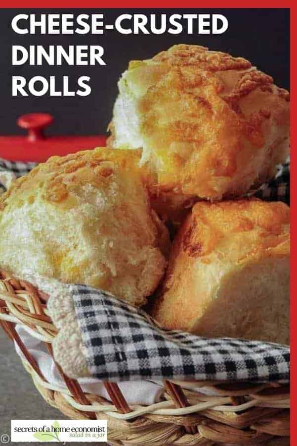 Pinterest image of Cheese-Crusted Dinner Rolls