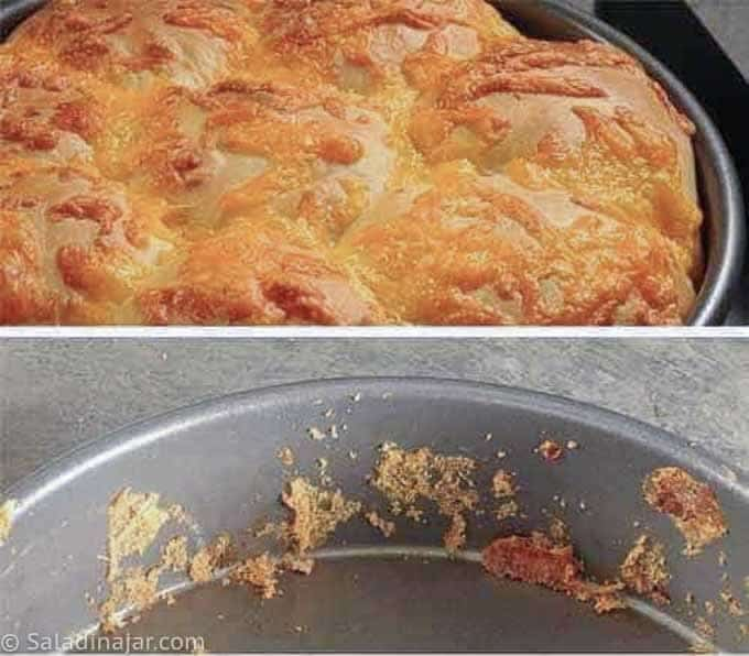 Cheesy Crusted Yeast Rolls --in a pan; also showing empty pan with crust bits of cheese left behind