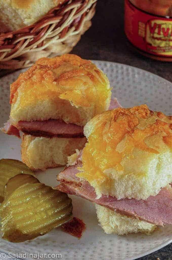 slider buns made into ham sandwiches