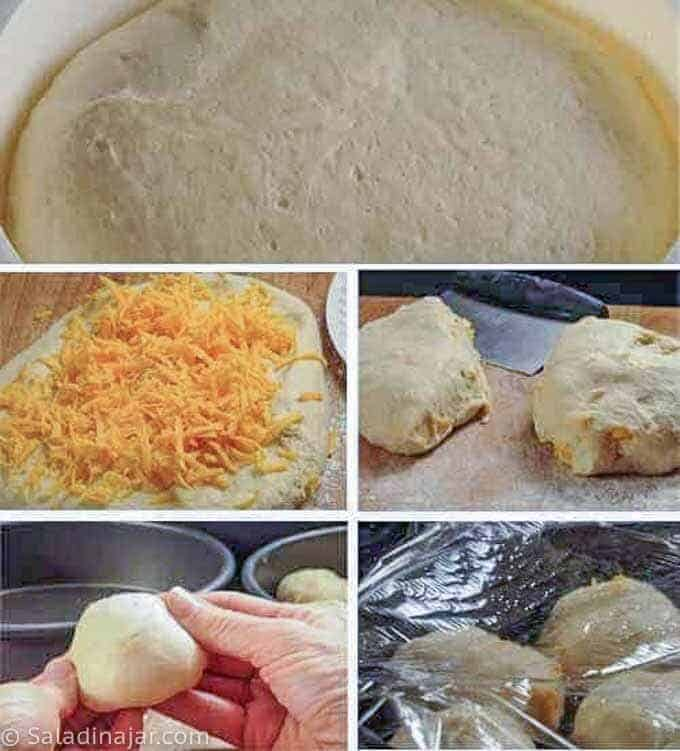 showing how to add the cheese and make dough into balls