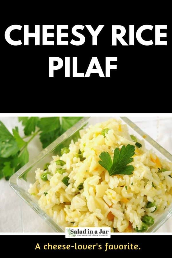 pinterest image for cheesy rice pilaf