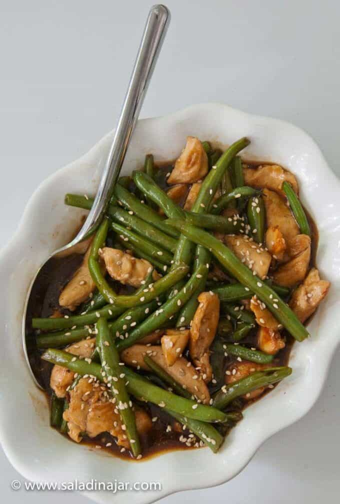 Chicken and Green Bean Stir Fry in a serving dish