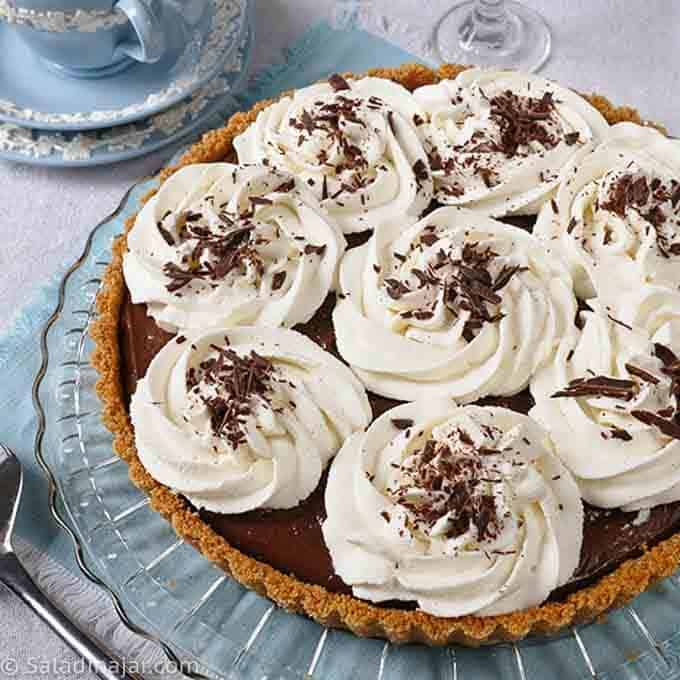 Whole Chocolate Cream Pie (cream filling made in a microwave) on a serving plate