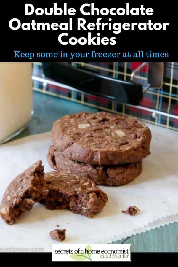 PInterest image for double chocolate oatmeal Refrigerator Cookies