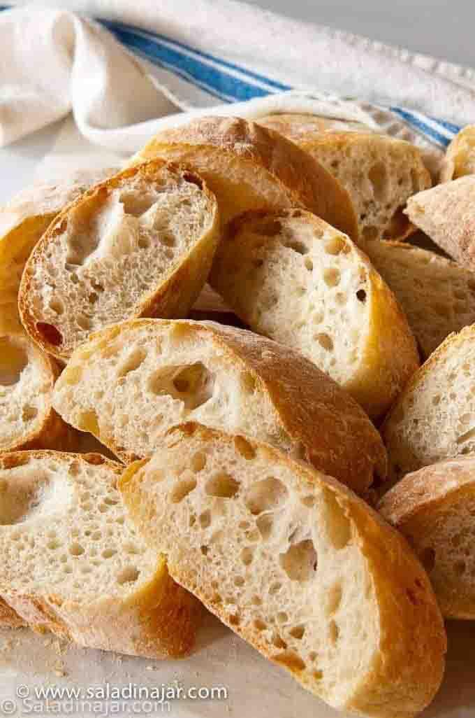 Ciabatta bread made in the bread machine