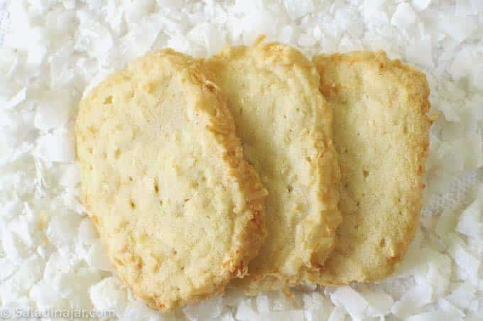 three baked coconut shortbread cookies