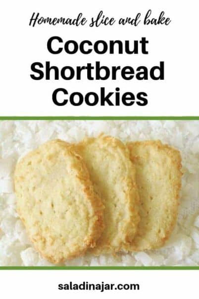 pinterest image for coconut shortbread cookies