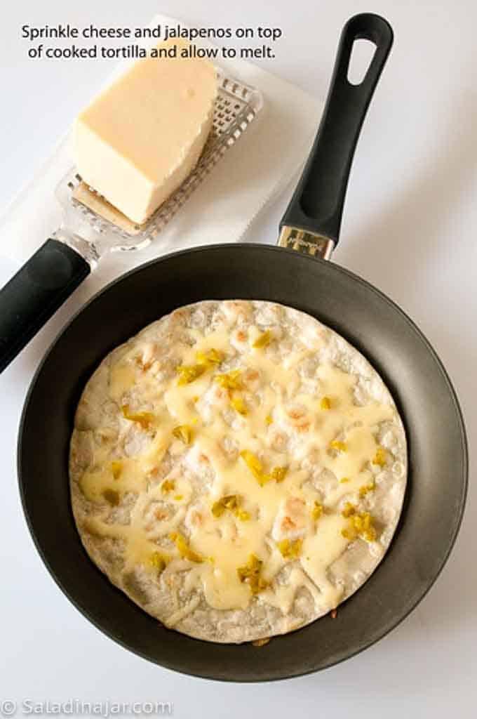 browning tortilla in a skillet