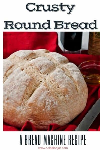 pinterest image for crusty round bread