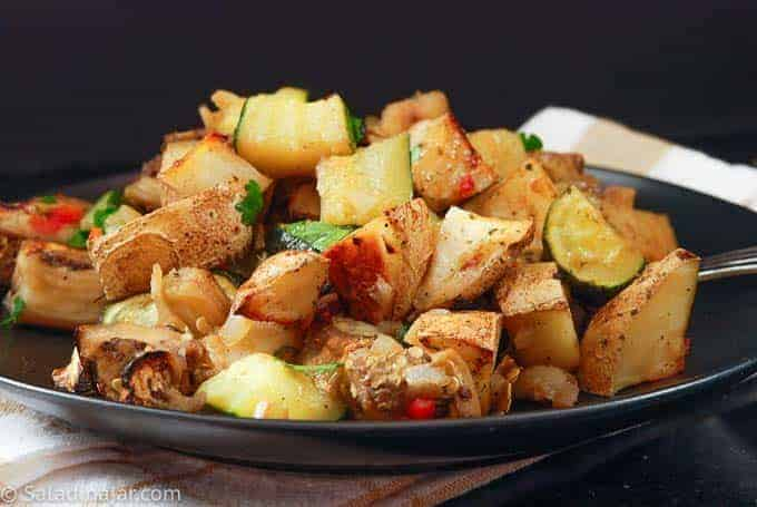 roasted eggplant and potatoes