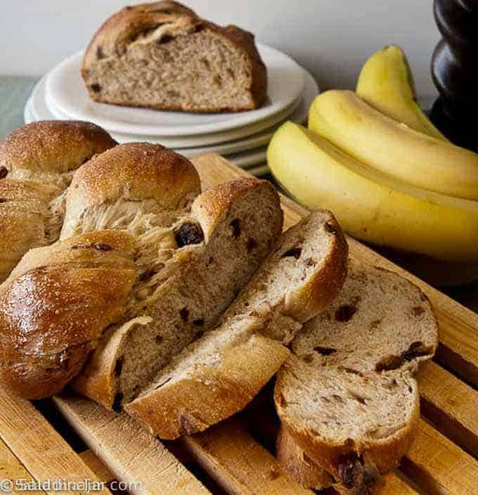 sliced banana yeast bread with raisins