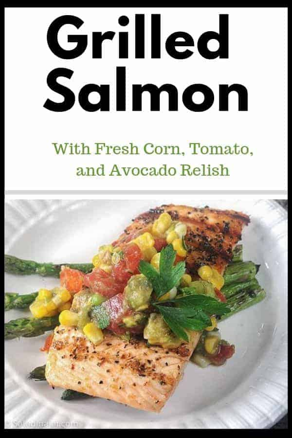 pinterest image for grilled salmon with fresh corn, tomato and avocado relish