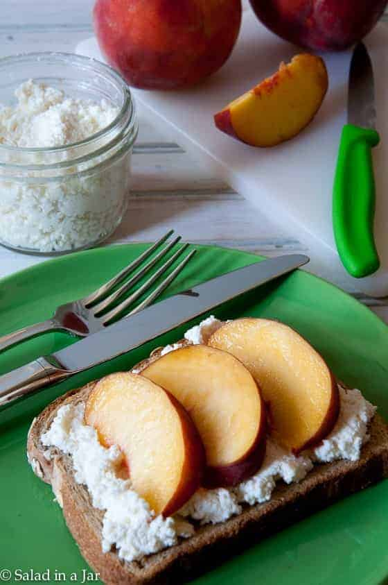 toast with ricotta and fresh peaches on top