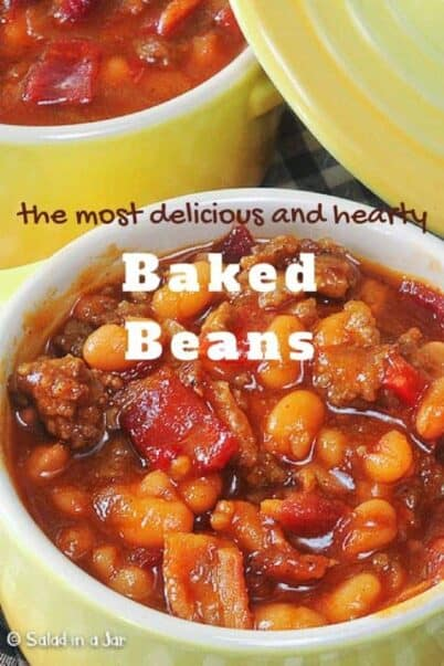 PInterest image for Hearty Baked Beans