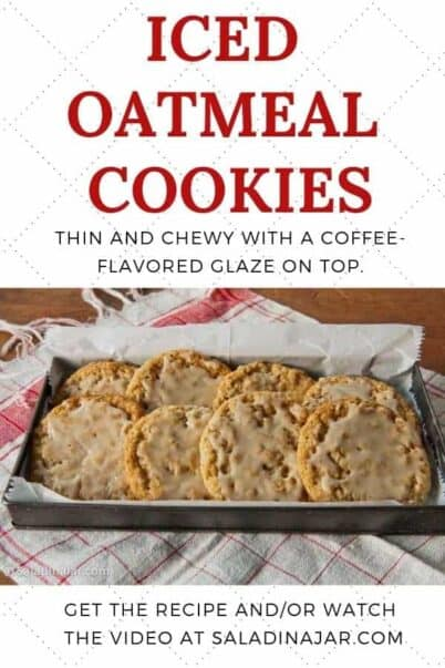 Pinterest image for Iced Oatmeal Cookies