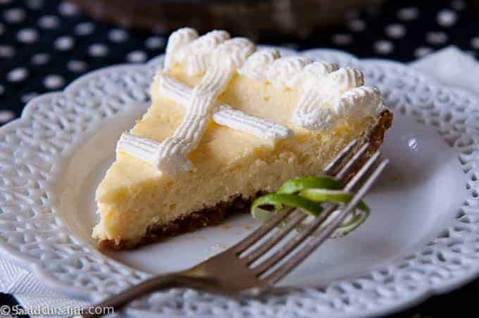 Baked Key LIme Pie - slice on a plate