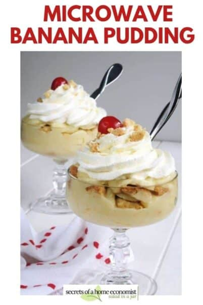 Pinterest image for Microwave banana pudding.