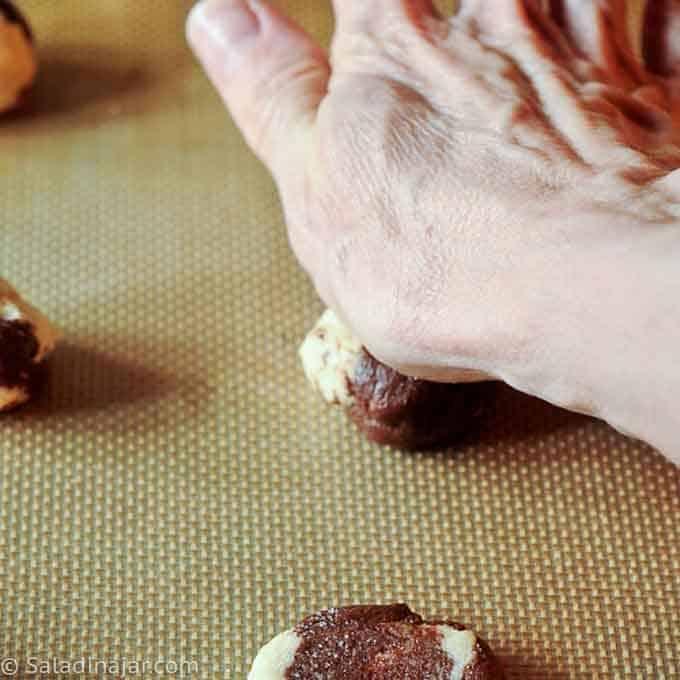 flattening dough balls