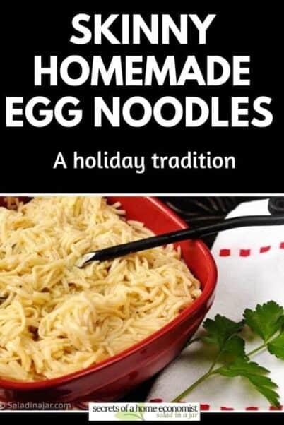 pinterest image for homemade egg noodles