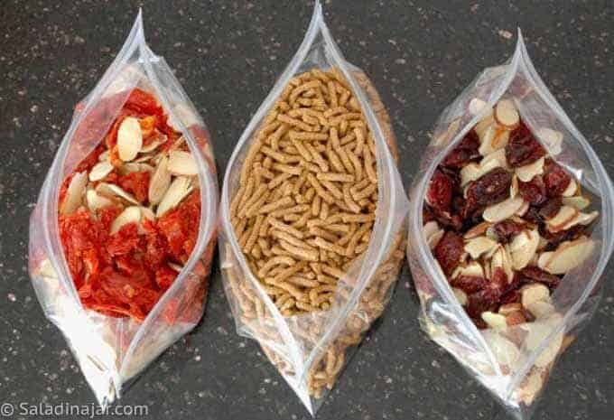Salad Toppings: sun-dried tomatoes, Fiber One, almonds and cranberries