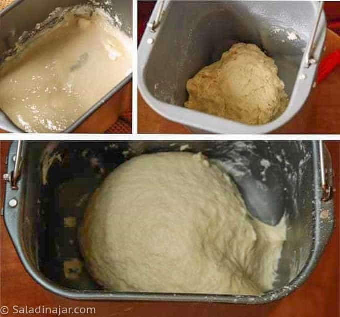 shows bread dough that is too wet, too dry and just right