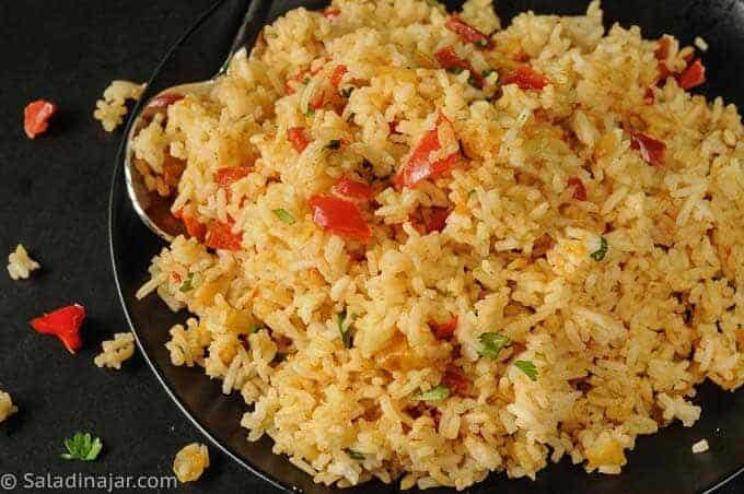 SOUTHWESTERN JASMINE RICE on a black plate
