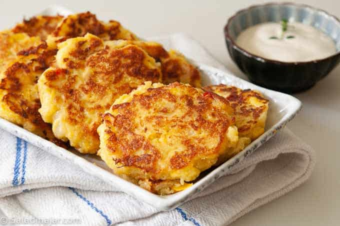 Yellow Squash Patties ready to eat with Ranch dressing on the side