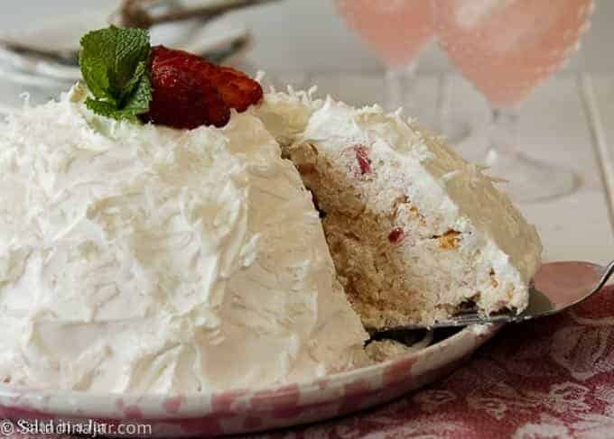 Strawberry Snowball Cake - sliced