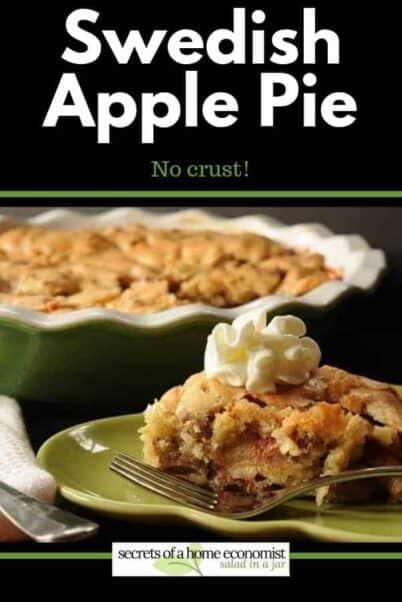 pinterest image for Crustless Apple Pie