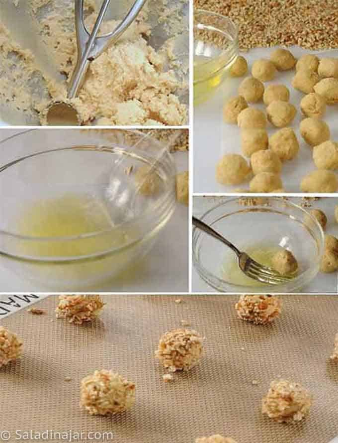 forming balls and coating them with nuts