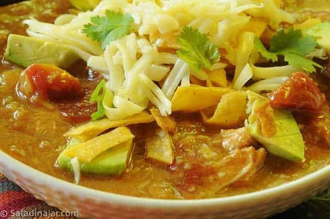 close-up of tortilla soup