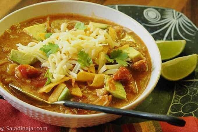 HEARTY TORTILLA SOUP in a bowl