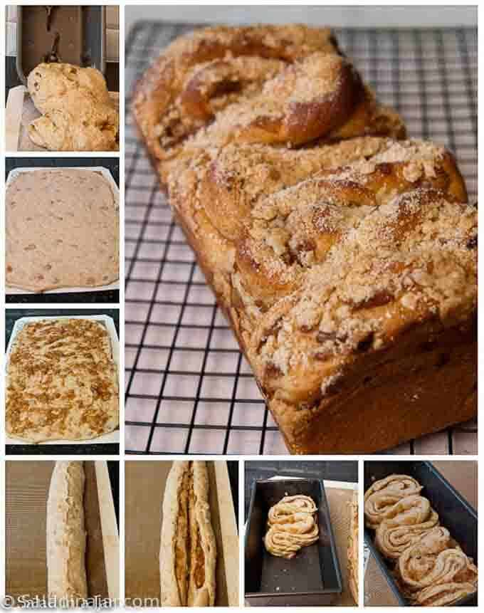 Storyboard of rolling out apple cinnamon bread and putting streusel on top