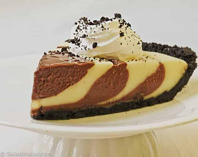 ZEBRA CREAM PIE--slice on a plate