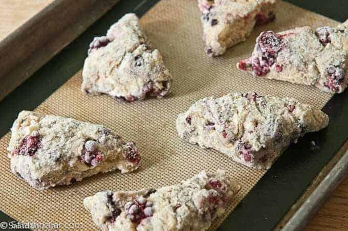 frozen blackberry scones ready to bake.