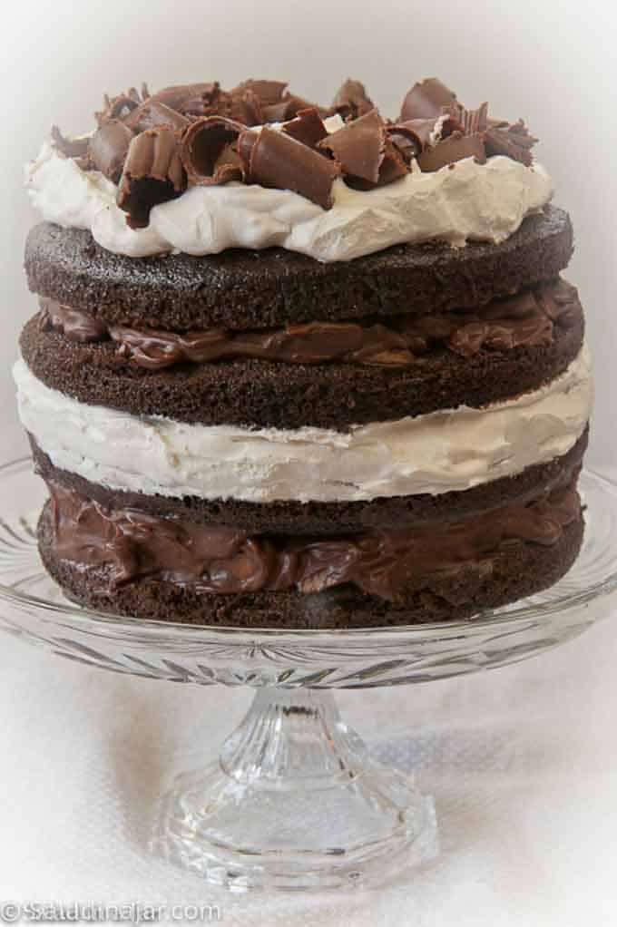 Chocolate Almond Layered Torte with chocolate curls on top