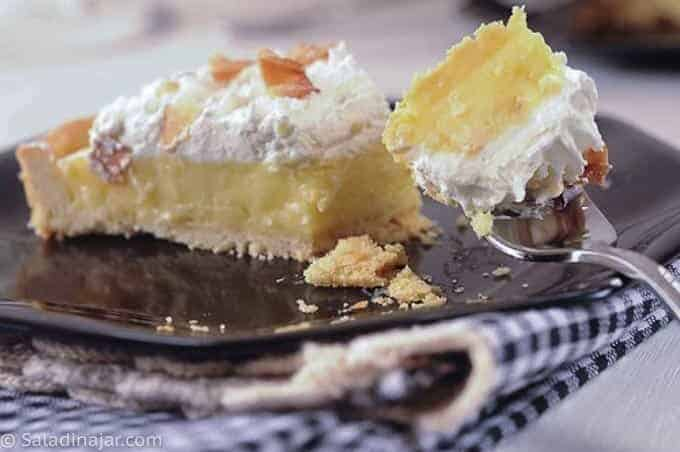 Microwave Custard Pie or Tart Filling with a Cookie Crust- slice of coconut cream tart