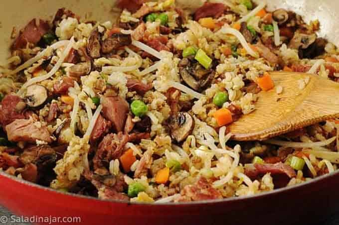 HAM AND VEGGIE FRIED RICE in a skillet