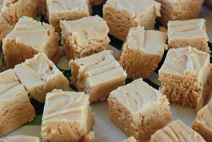 peanut butter fudge on a tray