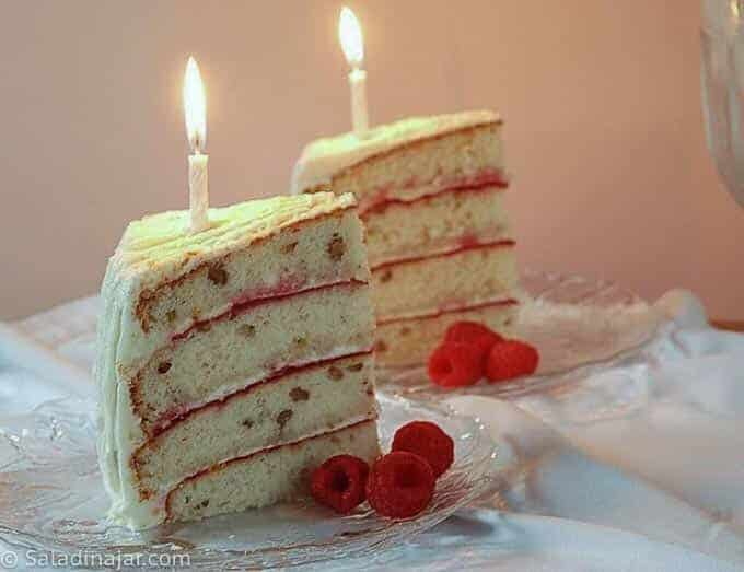 cake slices with candles