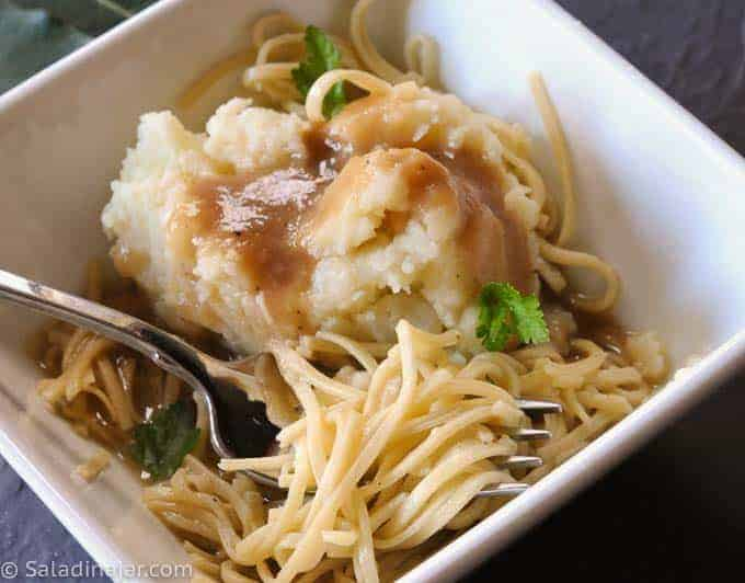 Skinny Homemade Egg Noodles-- served with mashed potatoes and gravy