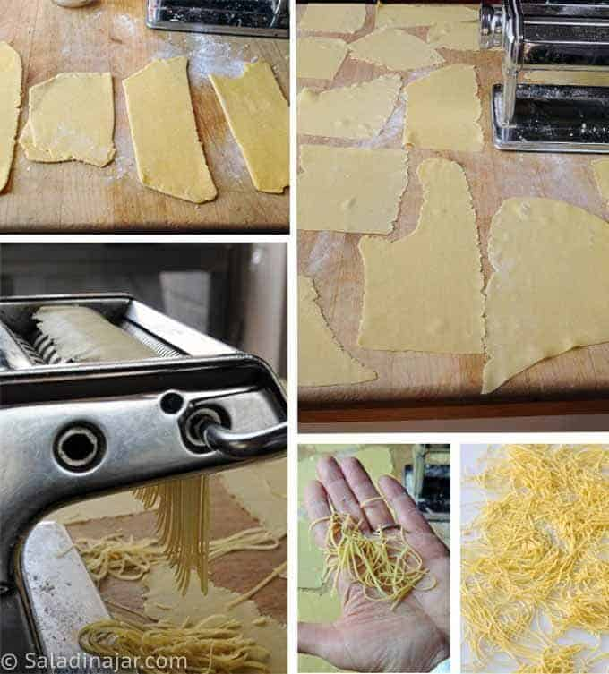 showing how to cut the noodles with a machine