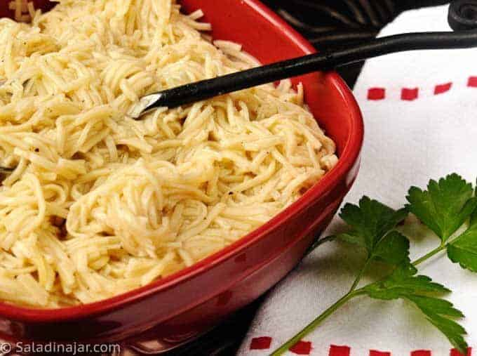 skinny egg noodles (made from scratch in a serving bowl)