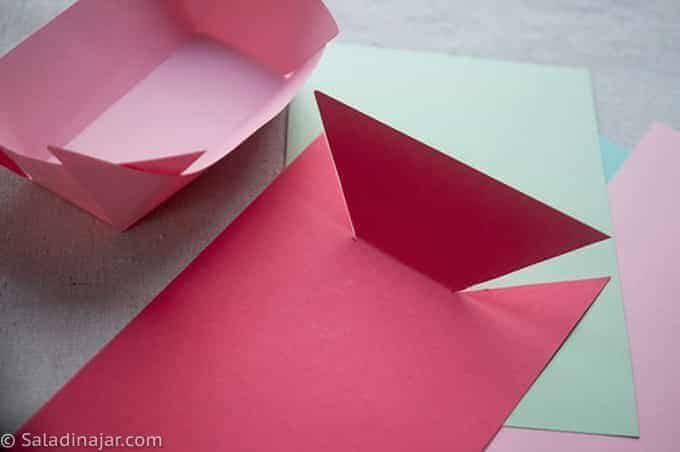 cutting and making paper containers for chips