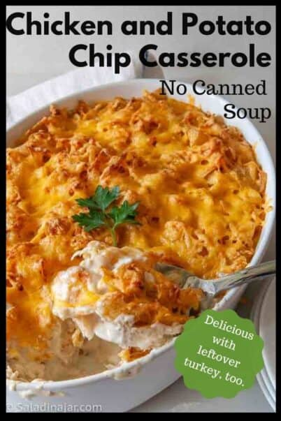pinterest image for chicken and potato chip casserole