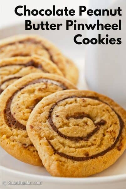 pinterest image for chocolate peanut butter pinwheel cookies