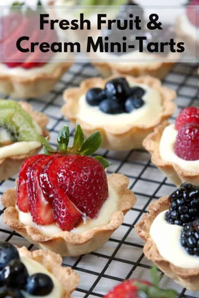 Fresh Fruit and Cream Mini-Tarts on a cooling tray